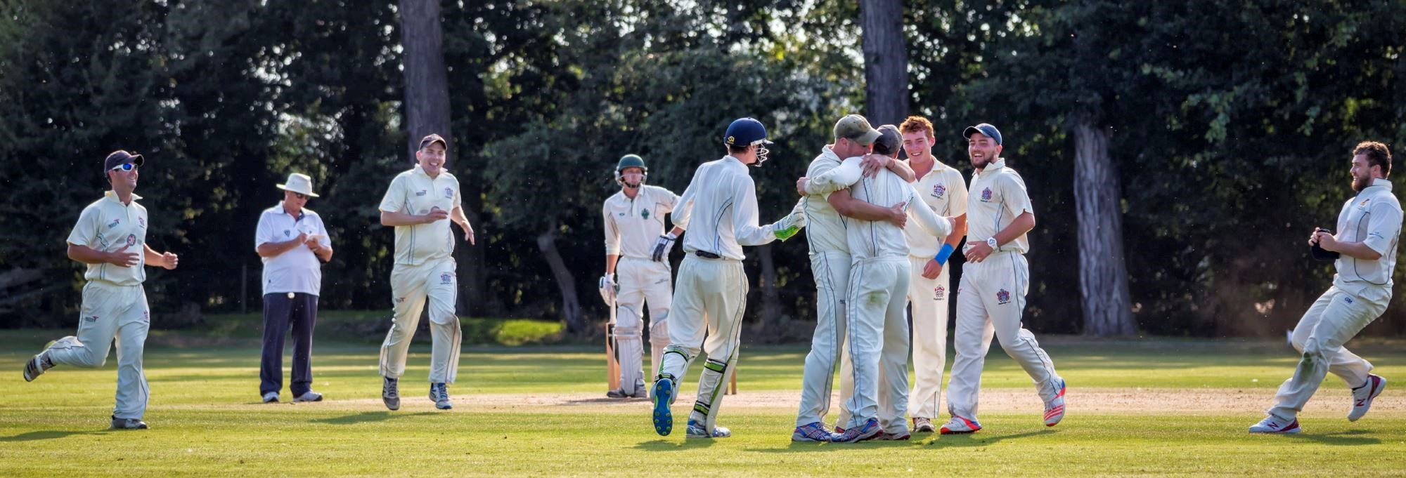 Recreational cricketers celebrating success